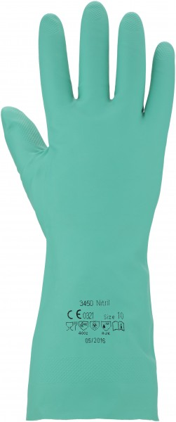 3450 Chemikalienschutz-Handschuh - Nitril, Farbe:grün, Gr. 9