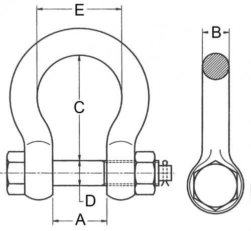 Schaekel-geschweifte-Form-mit-Mutter-und-Splint_zeichnung